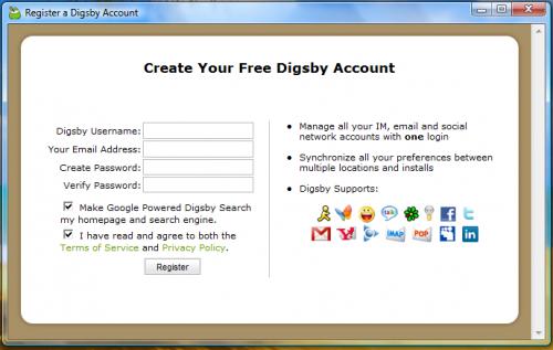 Digsby necessite la crétion d'un compte (sans activation et quasi instantannée !)
