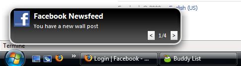 Capture d'écran Digsby : une alerte Facebook !
