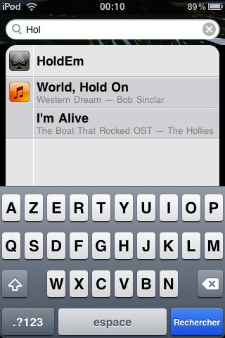 Capture d'écran : recherche sur Ipod touch/Iphone (firmware 3)